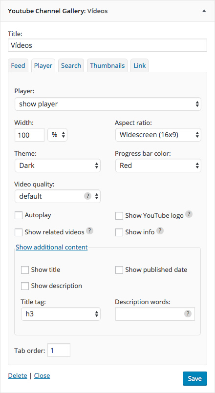 Player tab