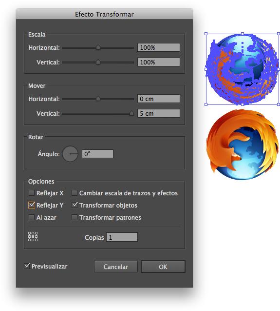 Efecto Transformar con los cambios en Illustrator