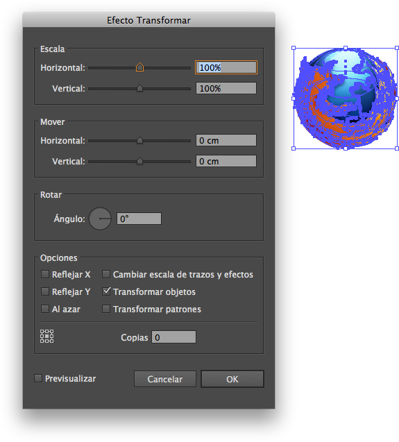 Efecto Transformar en Illustrator