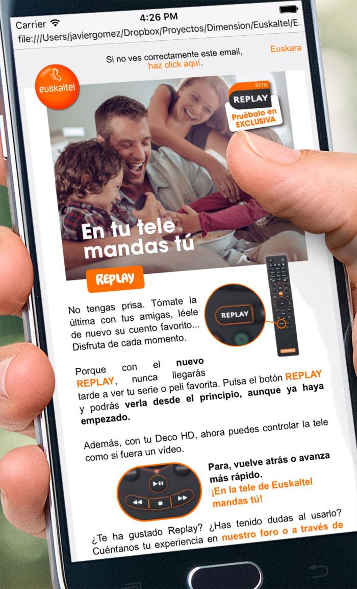Euskaltel. Emailings móvil